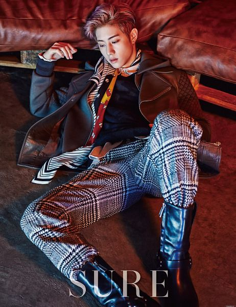 Tags: K-Pop, Got7, Mark, Sitting On Ground, Jeans, Text: Magazine Name, Couch, Sure, Magazine Scan, Android/iPhone Wallpaper