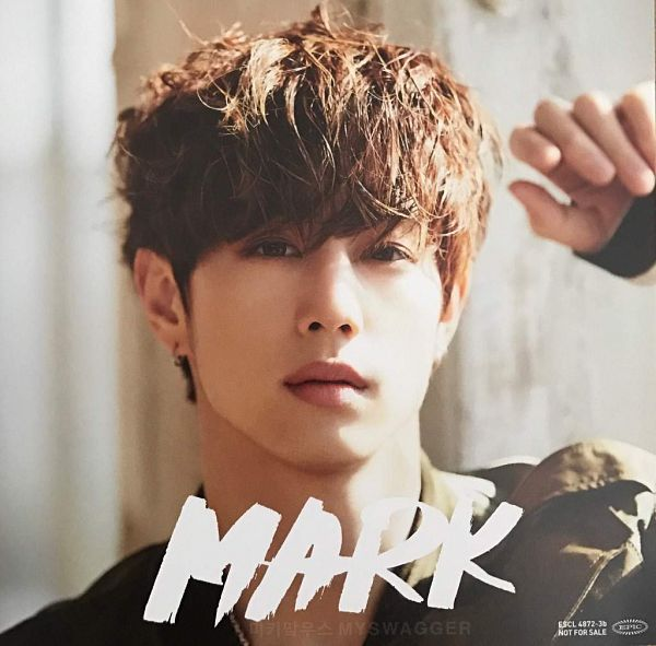 Tags: K-Pop, Got7, My Swagger, Mark, One Arm Up, Text: Artist Name, Serious, Scan