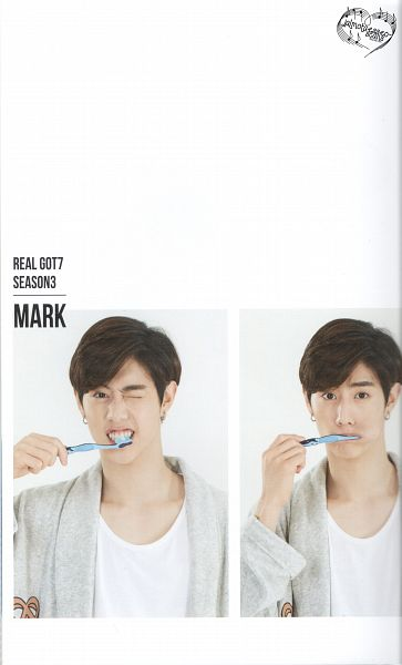 Tags: K-Pop, Got7, Mark, White Background, Wink, Toothbrush, Nightwear, Text: Artist Name, Light Background, Real GOT7 Season 3 Photobook, Android/iPhone Wallpaper, Scan