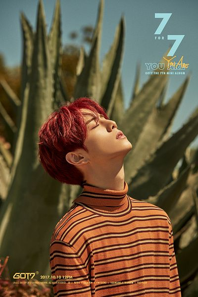 Tags: K-Pop, Got7, Mark, Plant, Sky, Text: Calendar Date, English Text, Striped, Looking Up, Text: Artist Name, Text: Song Title, Collar (Clothes)
