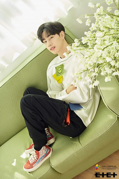 Tags: K-Pop, C-Pop, Got7, I Never Told You, Mark, Shoes, Sneakers, Couch, White Flower, Crossed Arms, Flower, Sitting On Couch