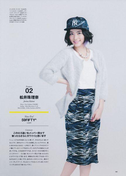 Tags: J-Pop, AKB48, SKE48, Matsui Jurina, White Outerwear, Skirt, Japanese Text, Gray Background, Text: Artist Name, Blue Skirt, Hand On Hip, White Jacket