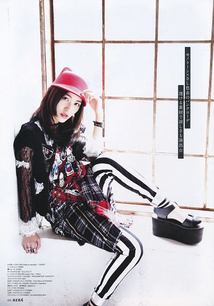 Tags: J-Pop, SKE48, AKB48, Matsui Jurina, White Pants, Checkered Shorts, Black Pants, Striped, Hat, Pink Headwear, Light Background, Black Footwear