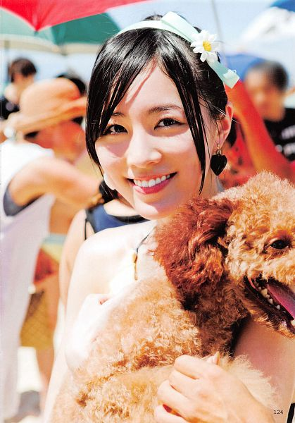 Tags: J-Pop, SKE48, AKB48, Matsui Jurina, Necklace, Bow, Sleeveless Shirt, Hair Ornament, Hair Bow, Hair Up, Blue Bow, Dog