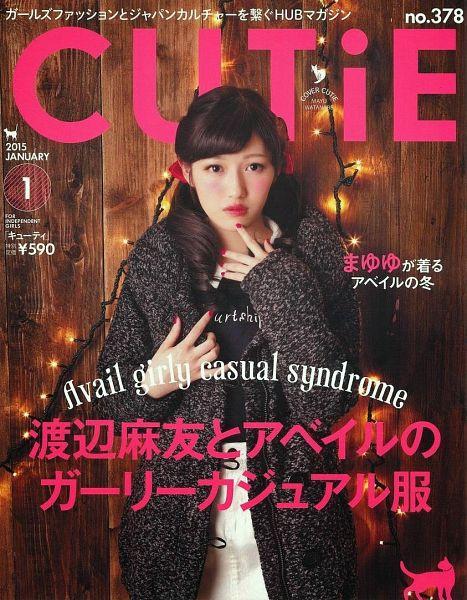 Tags: J-Pop, AKB48, Mayu Watanabe, Bow, White Skirt, Text: Calendar Date, English Text, Text: Magazine Name, Pink Headwear, Jacket, Pink Bow, Make Up
