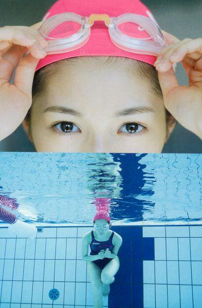 Tags: AKB48, Mayu Watanabe, Swimsuit, Collage, Hat, Water, Blue Outfit, Swimming Pool, Barefoot, Scan, Seifuku Zukan Saigo no Seifuku Photobook