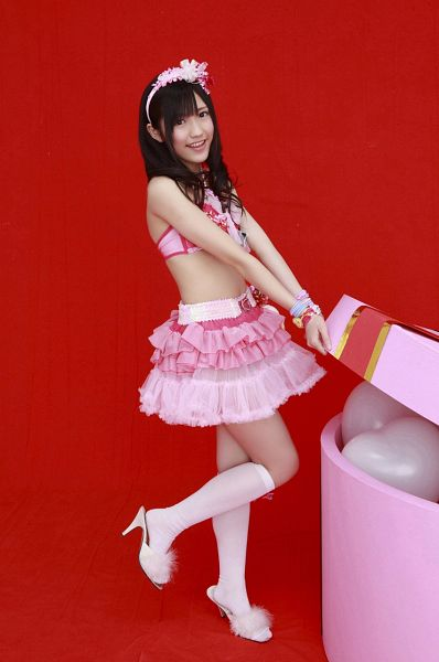 Tags: AKB48, Mayu Watanabe, Balloons, Red Background, Suggestive, Twin Tails, Bikini, Magazine Scan, Scan
