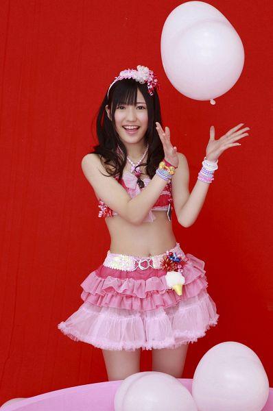 Tags: AKB48, Mayu Watanabe, Twin Tails, Bikini, Balloons, Red Background, Suggestive, Magazine Scan, Scan