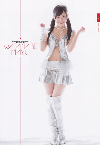 Tags: J-Pop, AKB48, Mayu Watanabe, Crown, White Gloves, Silver Shirt, Bracelet, Light Background, Choker, Gray Outfit, Necklace, Cleavage