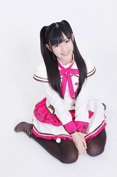 Tags: J-Pop, AKB48, Mayu Watanabe, White Background, Pink Bow, Skirt, Pantyhose, Sitting On Ground, White Dress, High Heeled Boots, Boots, White Outfit