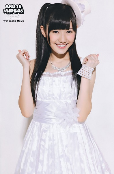 Tags: J-Pop, AKB48, Mayu Watanabe, Light Background, Hat, White Background, White Headwear, Bracelet, White Outfit, White Dress, Text: Artist Name, Side Tail