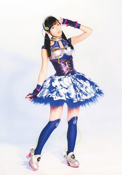 Tags: J-Pop, AKB48, Mayu Watanabe, Light Background, Silver Footwear, Gloves, Blue Dress, White Background, Knee Socks, Blue Outfit, Socks, Bare Shoulders