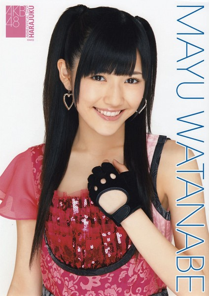 Tags: J-Pop, AKB48, Mayu Watanabe, Light Background, Pink Dress, Black Gloves, White Background, Fingerless Gloves, Sleeveless, Twin Tails, Text: Artist Name, Laughing