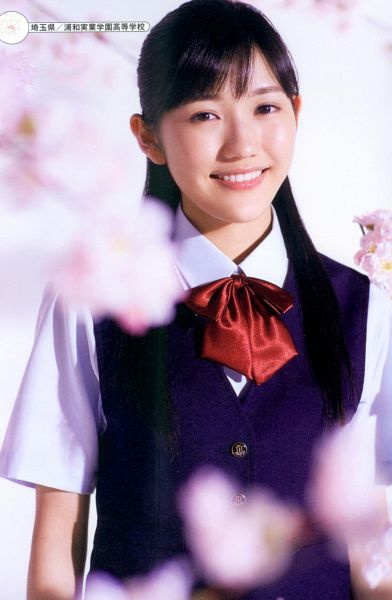 Tags: J-Pop, AKB48, Mayu Watanabe, Cherry Blossom, School Uniform, Bow Tie, Android/iPhone Wallpaper, Seifuku Zukan Saigo no Seifuku Photobook, Scan