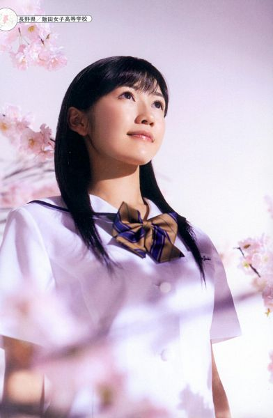 Tags: J-Pop, AKB48, Mayu Watanabe, Cherry Blossom, Looking Up, School Uniform, Looking Ahead, Bow Tie, Android/iPhone Wallpaper, Seifuku Zukan Saigo no Seifuku Photobook, Scan