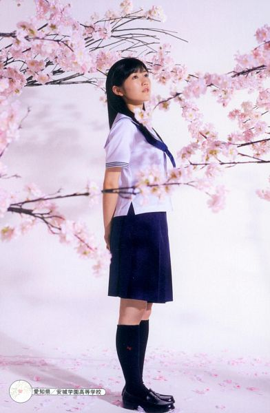 Tags: J-Pop, AKB48, Mayu Watanabe, Pink Flower, Looking Ahead, School Uniform, Cherry Blossom, Bow Tie, Looking Up, Flower, Scan, Android/iPhone Wallpaper