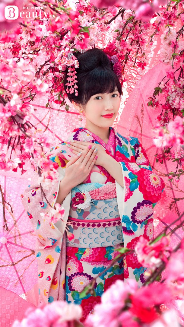 Tags: J-Pop, AKB48, Mayu Watanabe, Tree, Umbrella, Make Up, Hand On Hand, Cherry Blossom, Hair Up, Pink Background, Kimono, Pink Dress