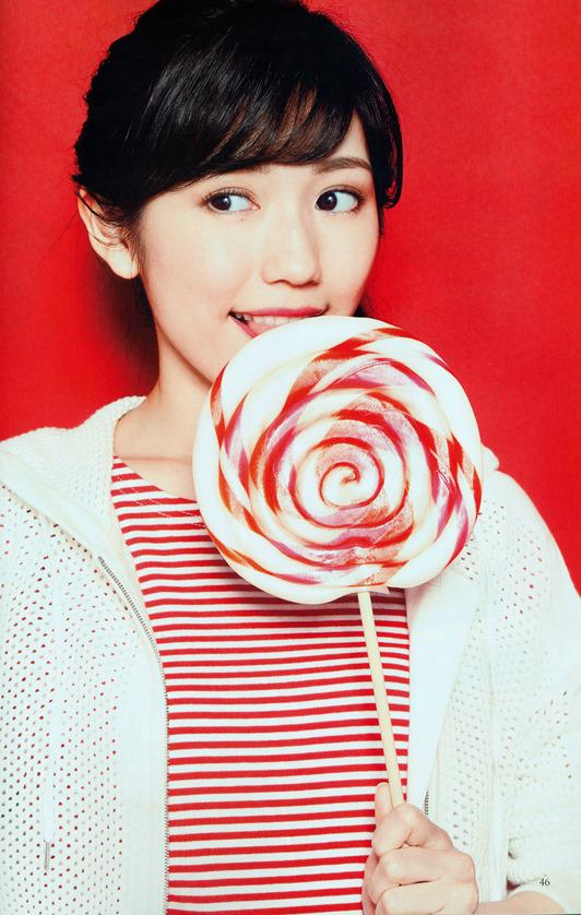 Tags: J-Pop, AKB48, Mayu Watanabe, Lollipop, Covering Mouth, Food, Hair Up, Striped, Red Shirt, Ponytail, Eating, Striped Shirt