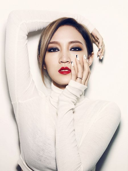 Tags: K-Pop, Miss A, Hush, Meng Jia, Make Up, Ring, Nail Polish, Turtleneck, Collar (Clothes), Hand On Cheek, Red Lips, Light Background