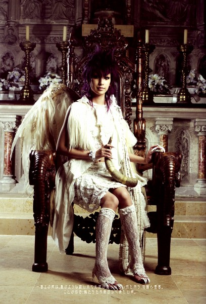 Tags: J-Pop, Mika Nakashima, Bare Legs, White Outfit, High Heels, High Heeled Boots, White Dress, Knee Boots, Japanese Text, Sitting On Chair, Angel Wings, Boots