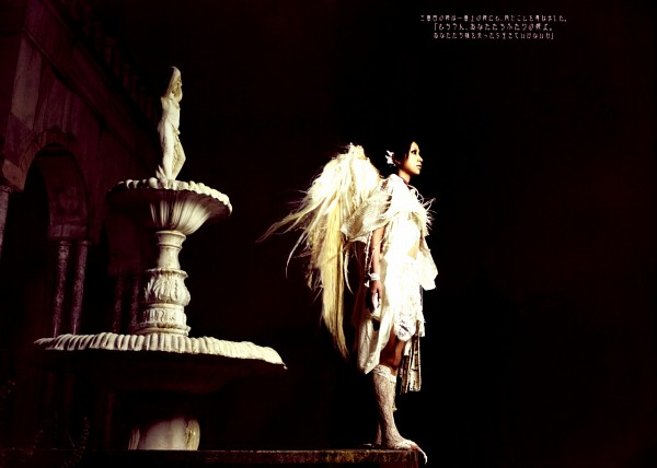 Tags: J-Pop, Mika Nakashima, Black Background, Fountain, Looking Ahead, White Outfit, Angel Wings, Knee Boots, Dark Background, Side View, White Footwear, Boots