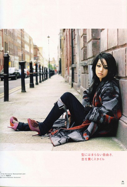 Tags: J-Pop, Mika Nakashima, Gray Jacket, Japanese Text, High Heels, Outdoors, Gray Outerwear, Black Pants, Purple Footwear, Full Body