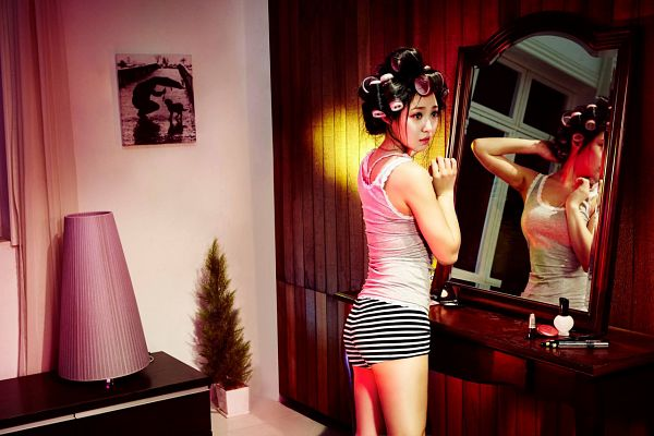 Tags: K-Pop, Miss A, Min, Looking Ahead, Striped Shirt, Reflection, Hair Up, Mirror, Glass, Colors (Album)