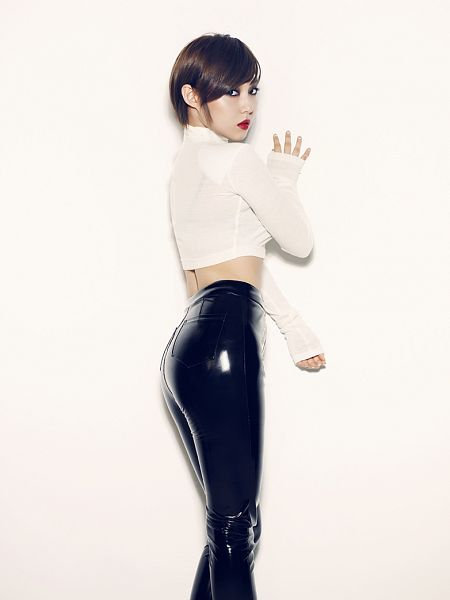 Tags: K-Pop, Miss A, Hush, Min, Suggestive, Black Pants, Light Background, Sexy Pose, White Background, Collar (Clothes), Looking Back, Leather Pants
