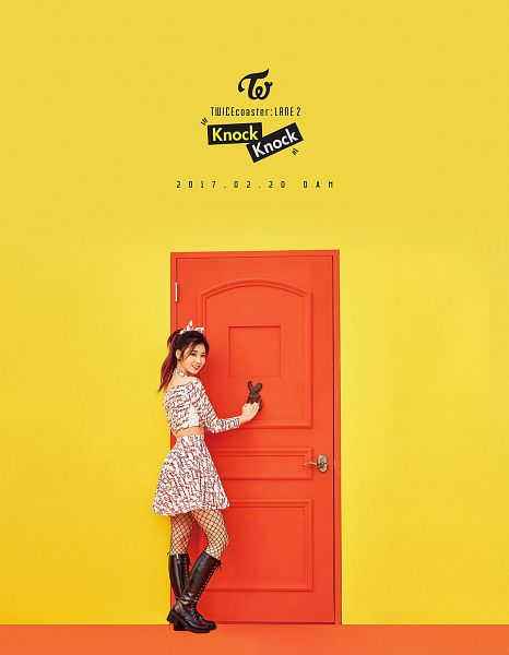 Tags: JYP Entertainment, K-Pop, Twice, Minatozaki Sana, Yellow Background, Text: Calendar Date, Text: Song Title, Text: Artist Name, Full Body, Door, Android/iPhone Wallpaper, Twicecoaster: Lane 2
