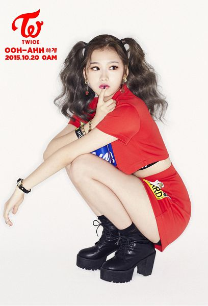 Tags: JYP Entertainment, K-Pop, Twice, Like OOH-AHH, Minatozaki Sana, Skirt, Red Skirt, Looking Away, Red Outfit, Boots, Finger To Lips, Twin Tails