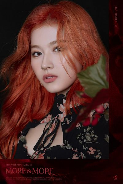 Tags: K-Pop, Twice, Minatozaki Sana, Black Dress, Black Background, Red Hair, Floral Print, Black Outfit, Floral Dress, Text: Song Title, Text: Company Name, Dark Background