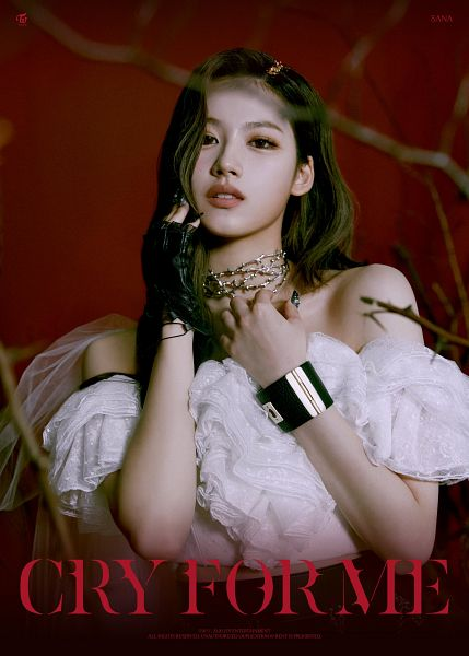 Tags: K-Pop, Twice, Cry For Me, Minatozaki Sana, Make Up, Text: Song Title, Hand On Chest, Shorts, Nail Polish, Midriff, Text: Artist Name, Necklace