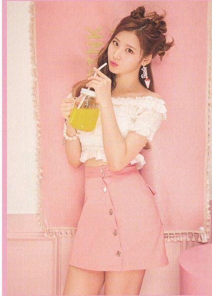 Tags: K-Pop, Twice, Minatozaki Sana, Sweets, Bare Legs, Midriff, Pouting, Pink Background, Bracelet, Ice Cream, Skirt, Pink Skirt