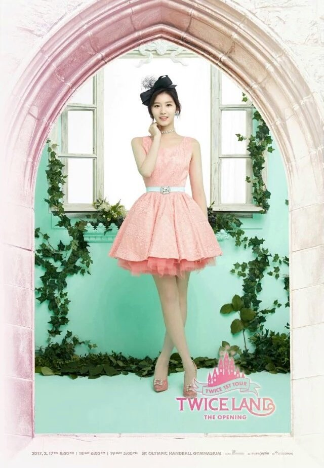 Tags: JYP Entertainment, K-Pop, Twice, Minatozaki Sana, Pink Outfit, Hair Ornament, Pink Dress, Hand On Neck, Window, Frame, Choker, Crossed Legs (Standing)