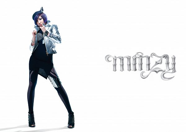 Tags: K-Pop, 2NE1, Minzy, Full Body, High Heeled Boots, Hat, Black Pants, Black Footwear, Boots, Blue Hair, Light Background, Gray Outerwear