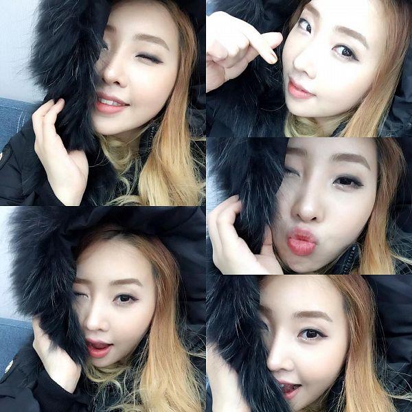Tags: K-Pop, 2NE1, Minzy, Heart Gesture, Collage, Wink, Selca