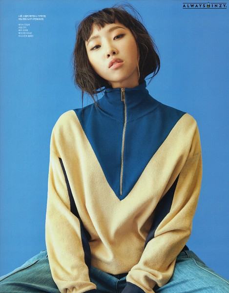 Tags: YG Entertainment, K-Pop, 2NE1, Minzy, Korean Text, Blue Background, Looking Ahead, Magazine Scan, Singles