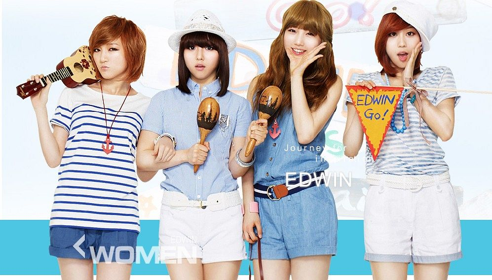 Tags: K-Pop, Miss A, Bae Suzy, Meng Jia, Min, Wang Feifei, Quartet, Striped, Guitar, Four Girls, White Shorts, Musical Instrument