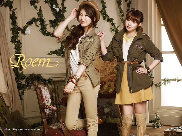 Tags: JYP Entertainment, K-Pop, Miss A, Min, Bae Suzy, Bracelet, Brown Outerwear, Skirt, Two Girls, Chair, Hand On Hip, Yellow Skirt