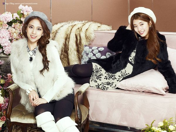 Tags: K-Pop, Miss A, Wang Feifei, Bae Suzy, Coat, Couch, Armchair, Hat, Two Girls, Fur, Chair, Fur Coat