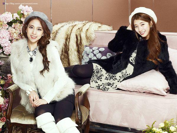 Tags: K-Pop, Miss A, Wang Feifei, Bae Suzy, Hat, Two Girls, Fur, Chair, Fur Coat, Fur Trim, Flower, Duo