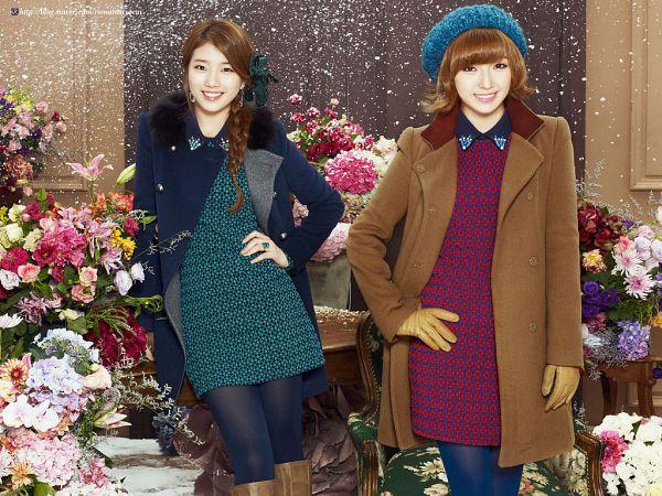Tags: K-Pop, Miss A, Bae Suzy, Min, Coat, Two Girls, Flower, Braids, Snow, Blue Outfit, Brown Outerwear, Blue Dress