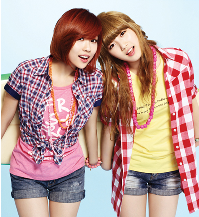 Tags: K-Pop, Miss A, Bae Suzy, Wang Feifei, Bracelet, Plaided Print, Two Girls, Blunt Bangs, Duo, Red Hair, Edwin