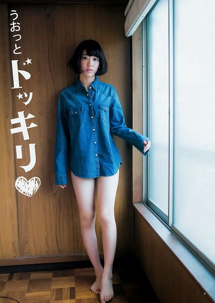 Tags: J-Pop, HKT48, AKB48, Miyawaki Sakura, Japanese Text, Barefoot, Medium Hair, Denim Shirt, Brown Background, Window, Suggestive, Bare Legs