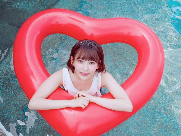 Tags: J-Pop, HKT48, IZ*ONE, Miyawaki Sakura, Hairband, Flotation Devices, From Above, In Water, Swimming Pool, Water, Headdress, Swimsuit
