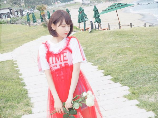 Tags: J-Pop, HKT48, IZ*ONE, Miyawaki Sakura, Outdoors, Red Outfit, Medium Hair, Flower, Bouquet, Eyes Half Closed, Rose (flower), Looking Down