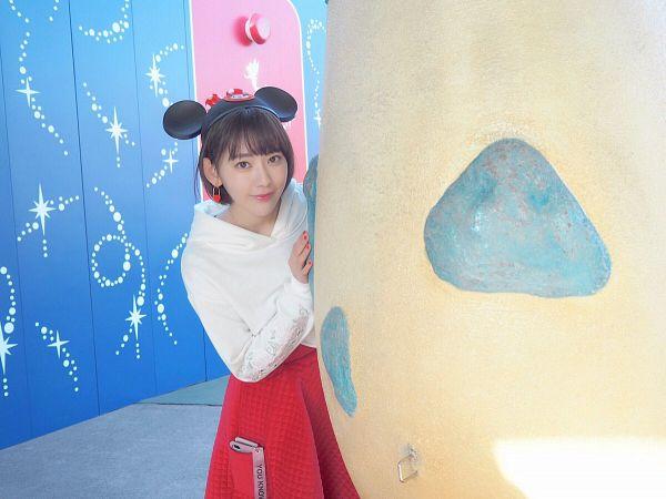 Tags: J-Pop, HKT48, IZ*ONE, Miyawaki Sakura, Skirt, Closed Mouth, Hoodie, Medium Hair, Bangs, Red Skirt, Earrings, Animal Ears