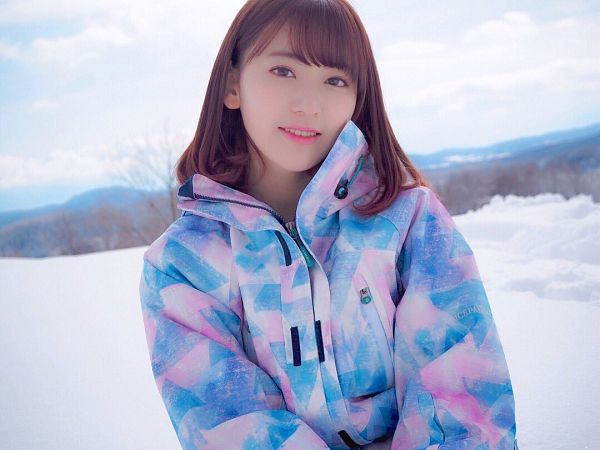 Tags: J-Pop, HKT48, IZ*ONE, Miyawaki Sakura, Blue Outerwear, Clouds, Snow, Blue Jacket, Sky