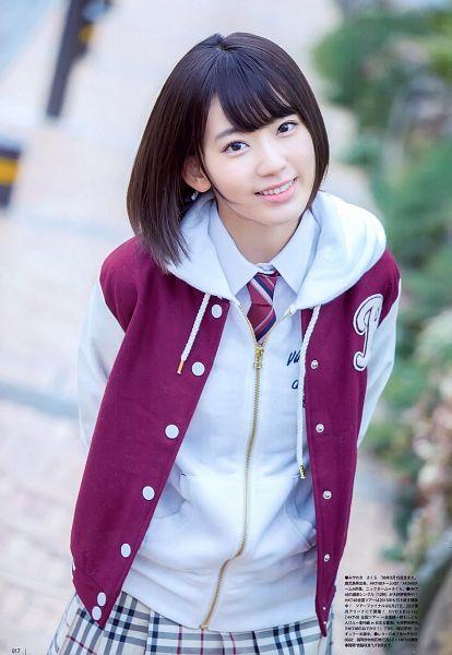 Tags: J-Pop, IZ*ONE, HKT48, Miyawaki Sakura, Checkered Skirt, White Jacket, Arms Behind Back, Tie, Red Jacket, Outdoors, White Skirt, Striped Neckwear