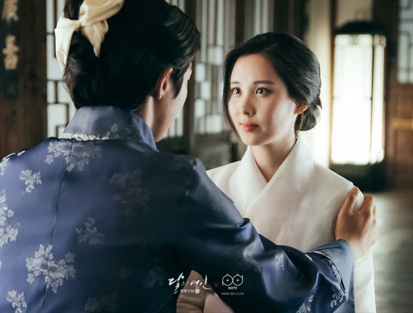Tags: K-Pop, K-Drama, Girls' Generation, Seohyun, Nam Joo-hyuk, Korean Clothes, Blue Outfit, Duo, Bent Knees, Hand On Shoulder, Looking At Another, Traditional Clothes